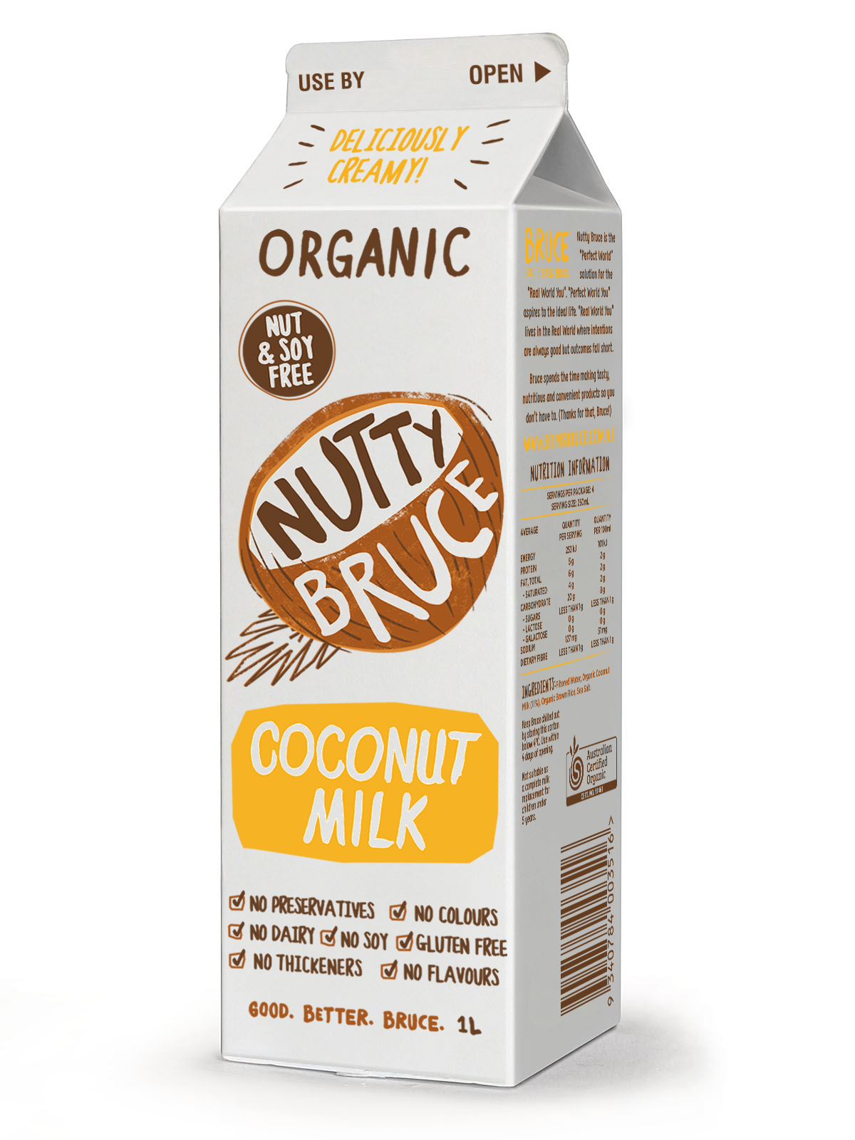 Organic Milk Alternative Coconut Nutty Bruce 1l Farm